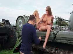 Screenshot for Парень с красивой грудастой девушкой занялись сексом на военной технике